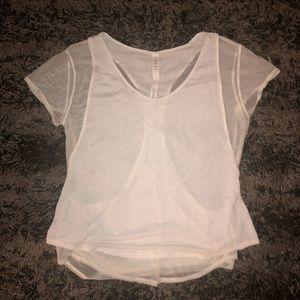 Lululemon White Racer Back Sheer top